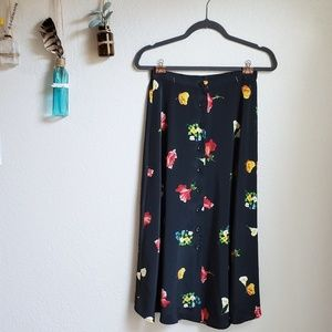 Vintage Floral High Waisted Button Down Skirt
